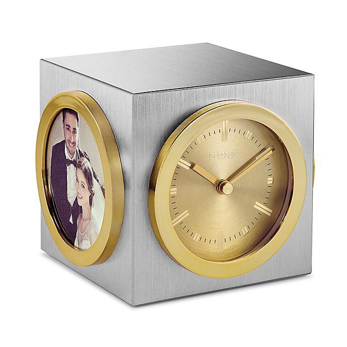 Alternate image 1 for Citizen Cube Desk Clock in Silver/Gold