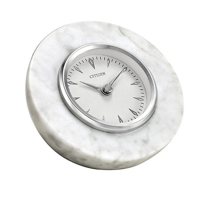 Alternate image 1 for Citizen White Marble Half Sphere Desk Clock