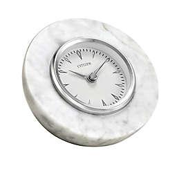 Citizen White Marble Half Sphere Desk Clock
