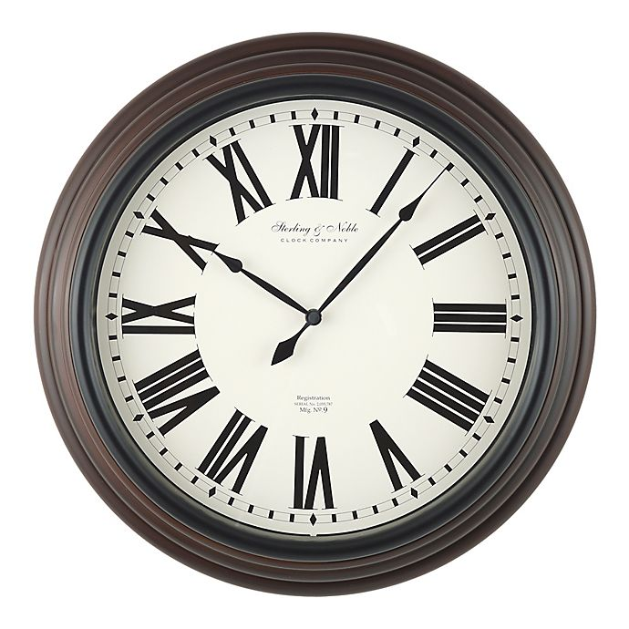 Sterling Le 18 Inch Traditional Roman Numeral Wall Clock In Mahogany