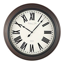 Sterling & Noble 18-Inch Traditional Roman Numeral Wall Clock in Mahogany