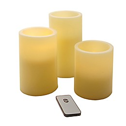 Round Battery Operated LED Candles with Remote Control in Cream (Set of 3)