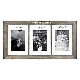 Wedding 3-Opening 4-Inch x 6-Inch Float  Frame in Grey