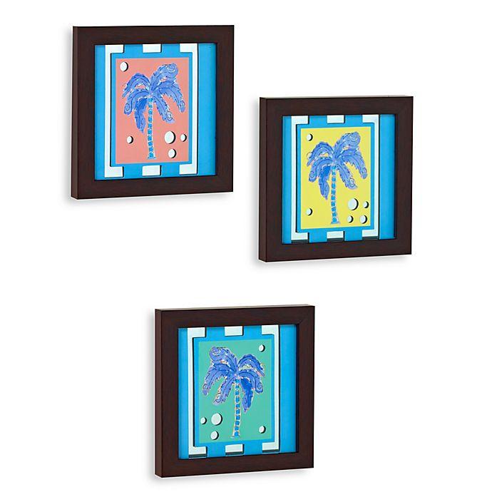 Tropical Bathroom Wall Decor: Decorative Tropical Palm Tree Wall Art Mirrors (Set Of 3