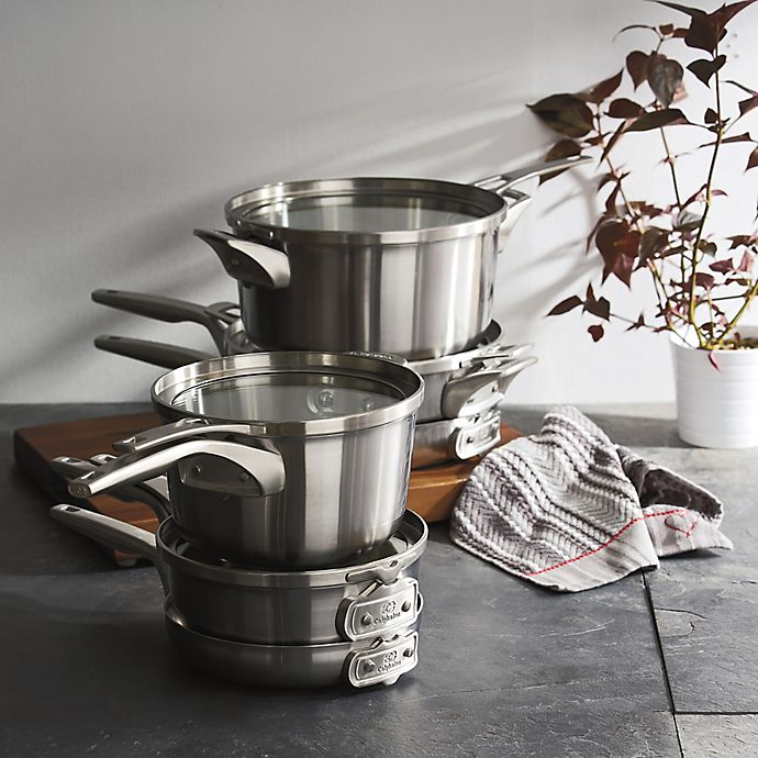 Alternate image 1 for Calphalon® Premier™ Space Saving Stainless Steel Cookware Collection