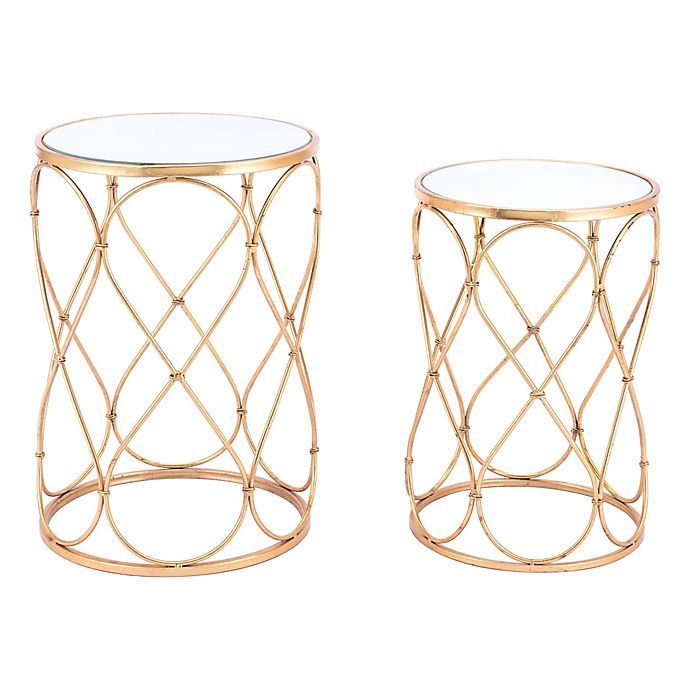 Alternate image 1 for Zuo® Twist End Tables in Gold (Set of 2)