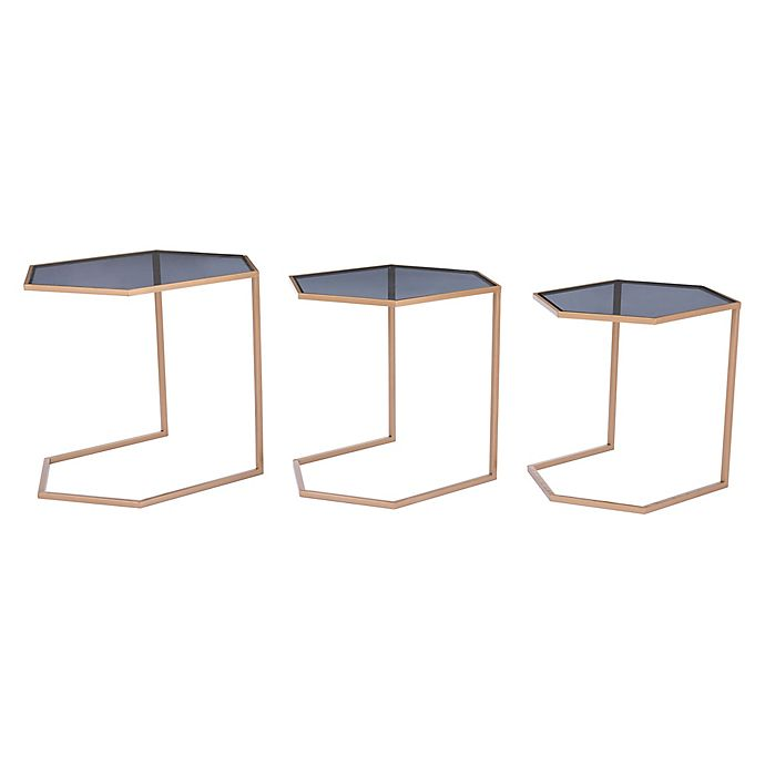 Alternate image 1 for Zuo® Geo Nesting Tables in Black/Gold (Set of 3)