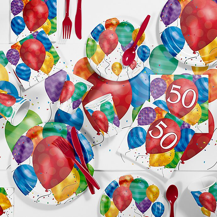 Alternate image 1 for Creative Converting™ 81-Piece Balloon Blast 50th Birthday Party Supplies Kit