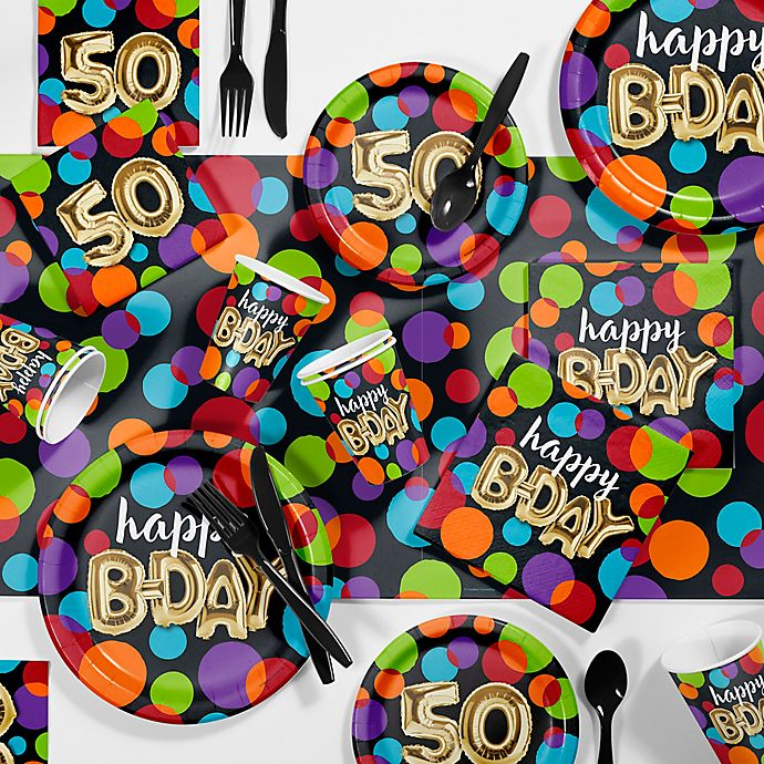Alternate image 1 for Creative Converting 81-Piece Balloon Blast 50th Party Supplies Kit