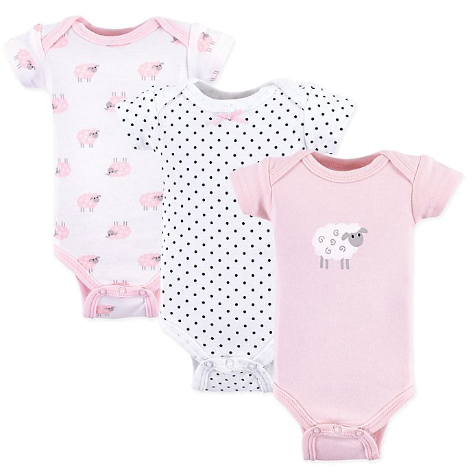 Alternate image 1 for Luvable Friends® Preemie 3-Pack Sheep Short Sleeve Bodysuits