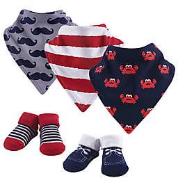 Hudson Baby Size 0-9M 5-Piece Crab Bandana Bib & Socks Set