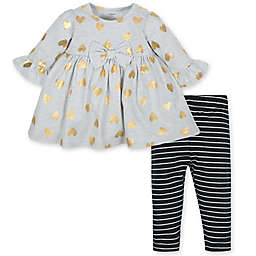 Gerber® 2-Piece Dress and Legging Set in Grey/Gold
