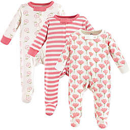Touched by Nature 3-Pack Organic Cotton Tulip Sleep and Play Footies in Pink