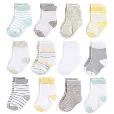 Hudson Baby® 12-Pack Basic Neutral Crew Socks