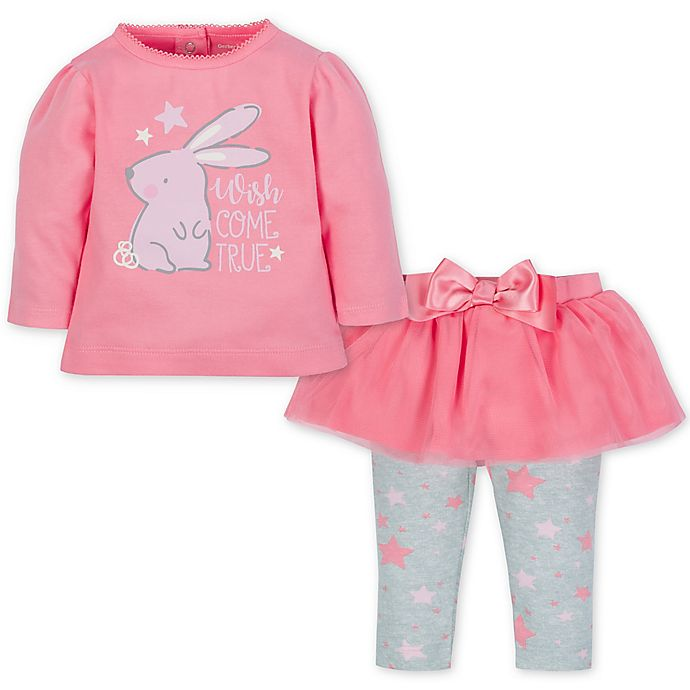 Alternate image 1 for Gerber® Size 4T 2-Piece Bunny Top and Tutu Legging Set in Pink