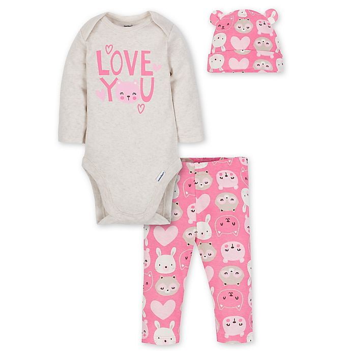 Alternate image 1 for Gerber® Size 3-6M 3-Piece Love Layette Set in Oatmeal