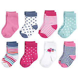 Touched by Nature 8-Pack Floral Organic Cotton Socks in Pink
