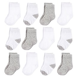 Hudson Baby® 12-Pack Basic No Show Socks in Grey