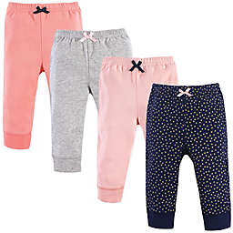 Luvable Friends® Size 6-9M 4-Pack Gold Dots Tapered Pants in Pink