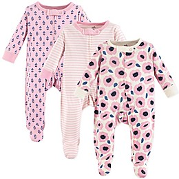 Touched by Nature 3-Pack Organic Cotton Blossoms Sleep and Play Footies in Pink