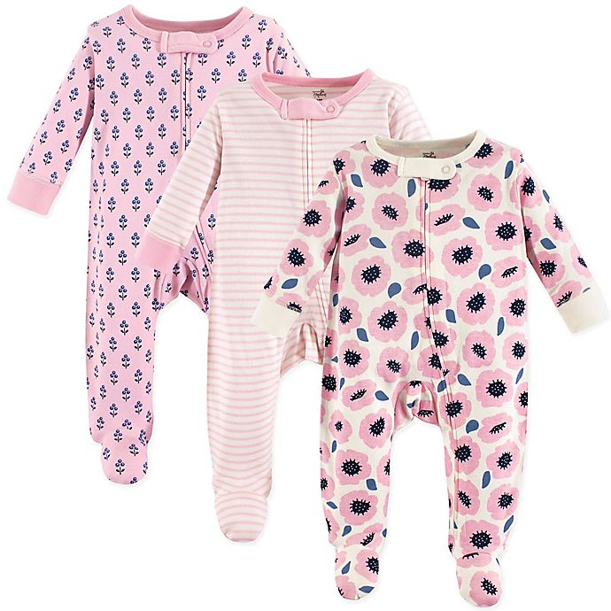 Alternate image 1 for Touched by Nature 3-Pack Organic Cotton Blossoms Sleep and Play Footies in Pink