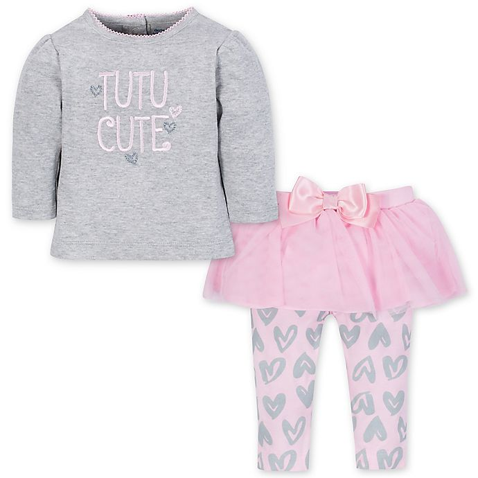 Alternate image 1 for Gerber® Size 4T 2-Piece Top and Leggings Set in Heather Grey