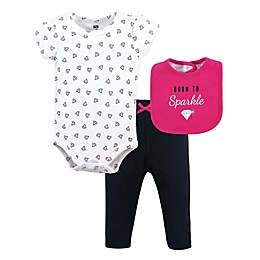 Hudson Baby® 3-Piece Sparkle Bib, Bodysuit and Pant Set in Pink