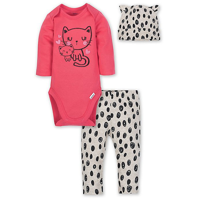 Alternate image 1 for Gerber® Size 3-6M 3-Piece Kitty Layette Set in Pink