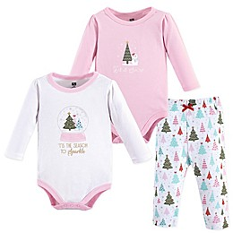 Hudson Baby® 3-Piece Sparkle Trees Layette Set in Pink