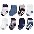 Touched by Nature Size 6-12M 8-Pack Stripe/Solid Organic Cotton Socks in Red