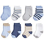 Touched by Nature Size 0-6M 8-Pack Multicolor Stripe Organic Cotton Socks in Beige