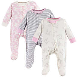 Touched by Nature 3-Pack Organic Cotton Bird Sleep and Play Footies in Pink