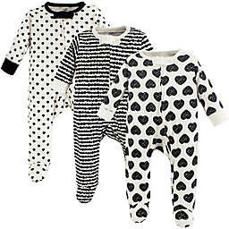 Touched by Nature 3-Pack Organic Cotton Heart Sleep and Play Footies in Black
