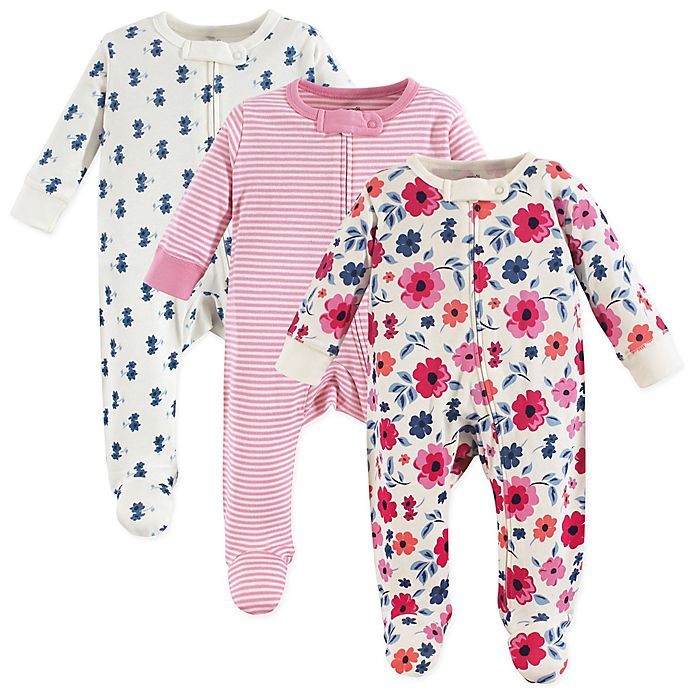 Alternate image 1 for Touched by Nature 3-Pack Organic Cotton Garden Floral Sleep and Play Footies in Pink