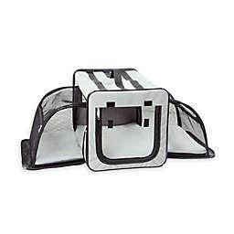 Pet Life™ Capacious Medium Expandable Dog Crate in Grey