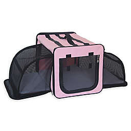 Pet Life™ Capacious Large Expandable Dog Crate in Pink