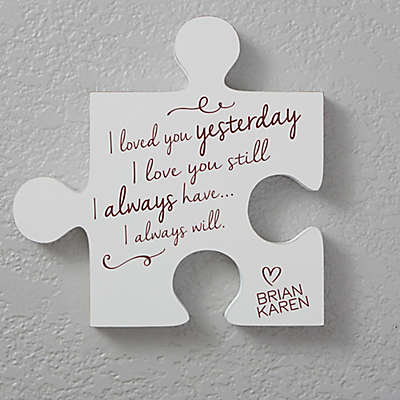 Romantic Quotes 12-Inch Square Puzzle Piece Wall Décor