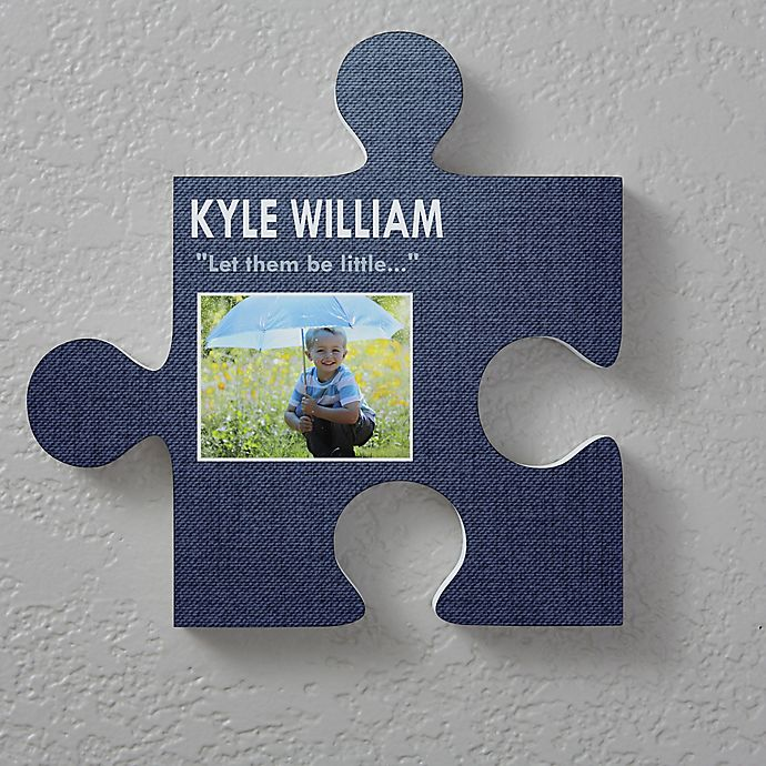 Alternate image 1 for Name & Photo 12-Inch Square Puzzle Piece Wall Décor