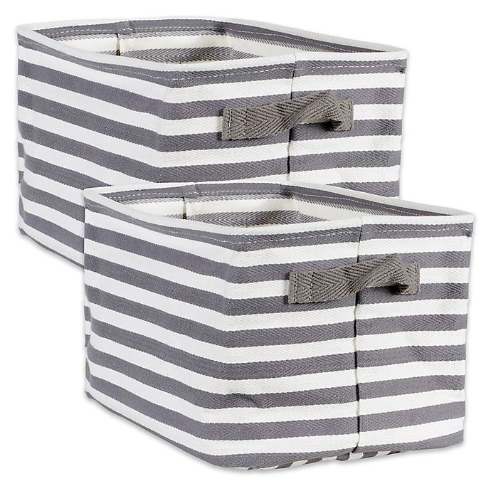 Alternate image 1 for Design Imports Collapsible Fabric Striped Large Storage Bins (Set of 2)