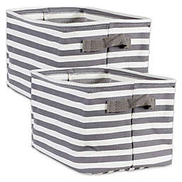 Design Imports Collapsible Fabric Striped Large Storage Bins (Set of 2)