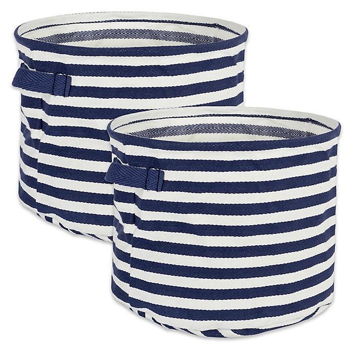 Alternate image 1 for Design Imports Collapsible Fabric Striped Large Round Storage Bins in Grey (Set of 2)