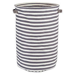 Design Imports Collapsible Round Striped Fabric Hamper