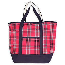 Large Plaid Tote Bag in Red/Black
