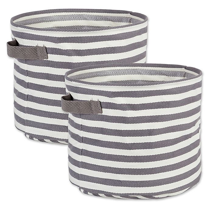 Design Imports Collapsible Round Fabric Striped Storage