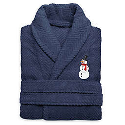 Herringbone Snowman Size Large/XL Large Bathrobe in Midnight Blue