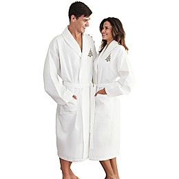 Linum Home Textiles Christmas Tree Waffle Weave Bathrobe in White