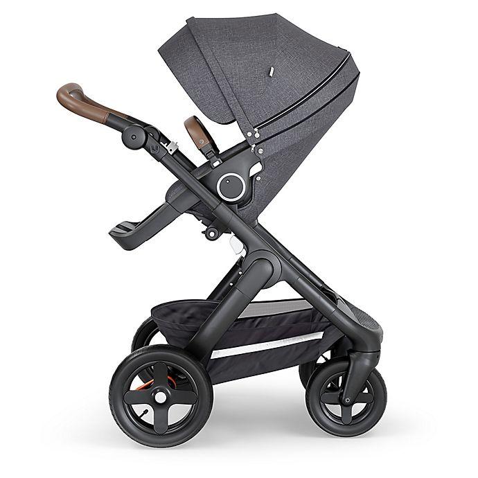 Alternate image 1 for Stokke® Trailz™ Black Frame Stroller with Brown Handle in Black Melange