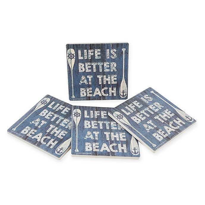 Alternate image 1 for Thirstystone® Dolomite Better at the Beach Square Coasters (Set of 4)