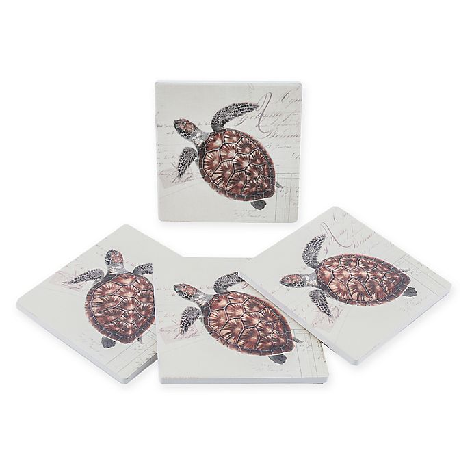 Alternate image 1 for Thirstystone® Dolomite Sea Turtle Square Coasters (Set of 4)