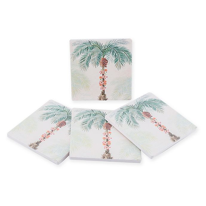 Alternate image 1 for Thirstystone® Dolomite Palma Tropical Square Coasters (Set of 4)